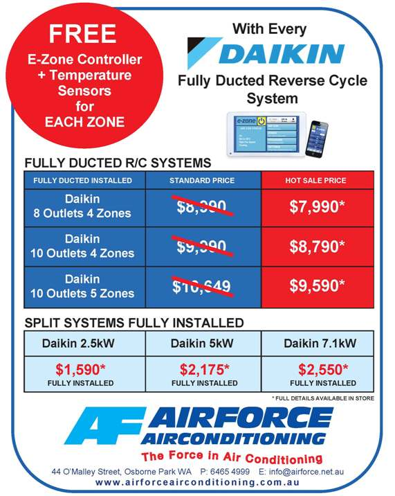Daikin reverse cycle air conditioner promotion